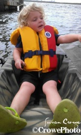 toddler on kayak