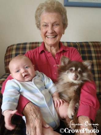 great grandmom, baby, dog