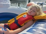 Toddler sleeping while tubing