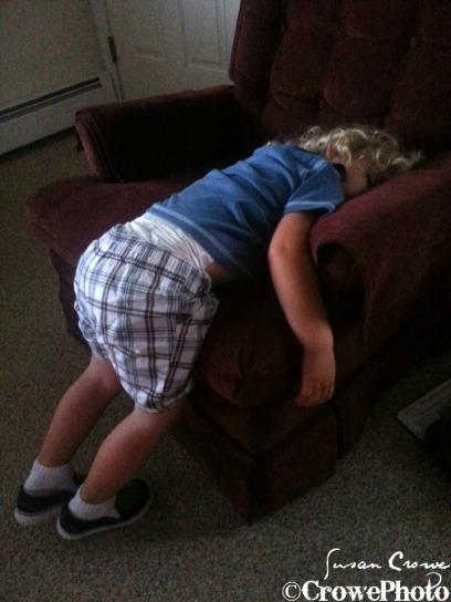 Toddler sleeping falling off chair