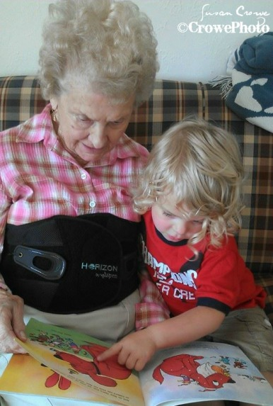 great grandmom reading to great grandson