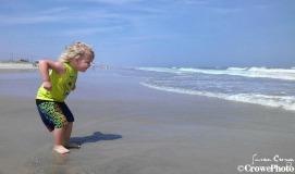 running into ocean