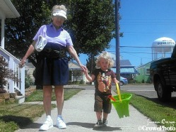 great grandmom and great grandson walk