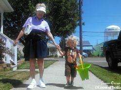 great grandmom and great grandson walk