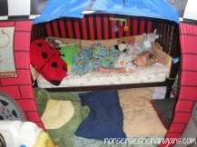 toddler bed inside tent