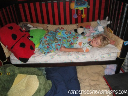 pillows on floor next to toddler bed