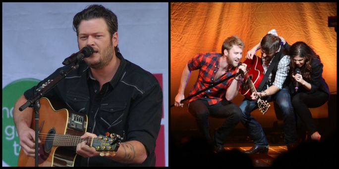 (Left: Blake Shelton) Photo Credit: Justin Higuchi / Flickr (CC BY-ND 2.0) (RIght: Lady Antebellum) Photo Credit: WEZL Charleston's Best Country / Flickr (CC BY 2.0)