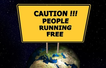 """""""Caution!!! People running free"""" by geralt on Pixabay (Public Domain)"""