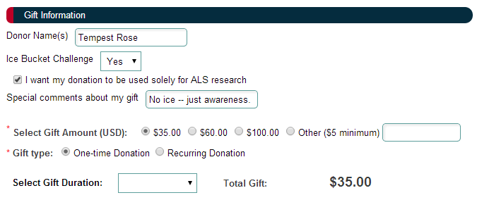ALS ice bucket challenge donation